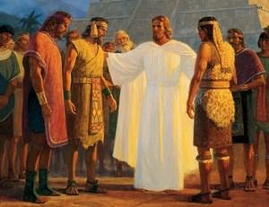 ציור מורמוני של ישו המתקבל על ידי האינדיאנים (צאצאי הישראלים הקדומים כמובן), ומתחיל להרביץ בהם את הבשורה הטובה.